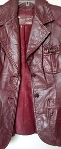 Burgundy vintage leather jacket